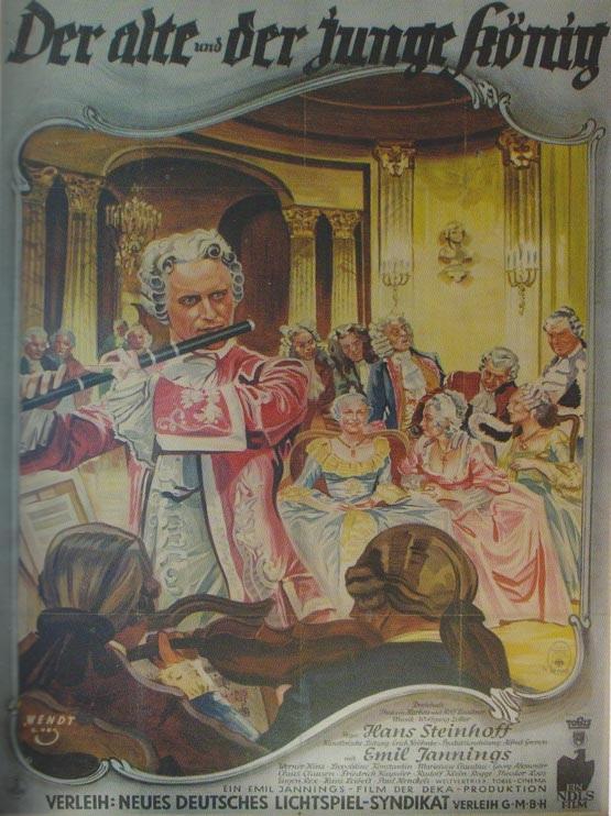 """Filmo """"Senas ir jaunas karalius""""( Der alte und der junge König) plakatas. Tai istorinis filmas apie karalių Fridrichą Didįjį (1935), kuriam  scenarijų parašė R. Laukneris."""