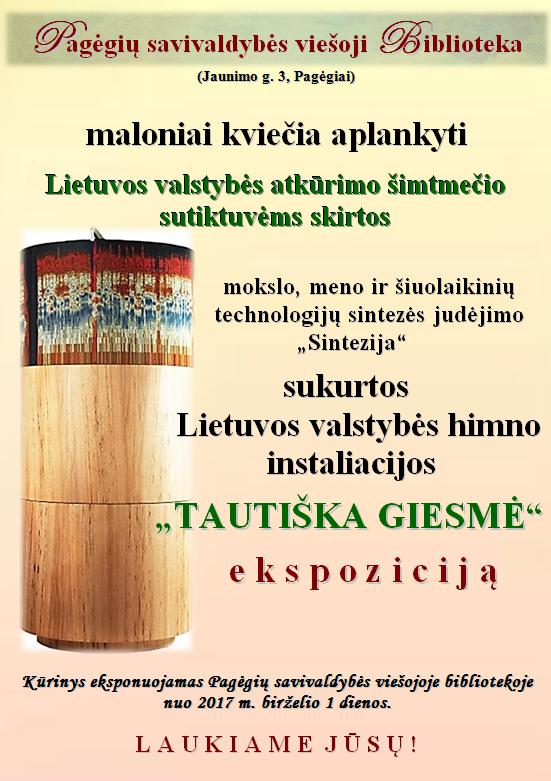Lietuvos valstybės himno instaliacijos TAUTIŠKA GIESMĖ ekspozicija