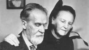 Mykolas Biržiška ir jo žmona Bronislava Los Angeles JAV apie 1960 metus.