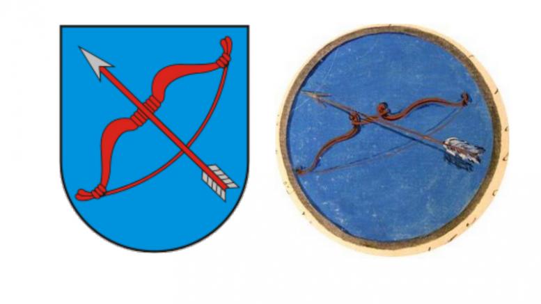 Tryškių (Telšių rajonas) herbas ir istorinis jo pirmtakas.
