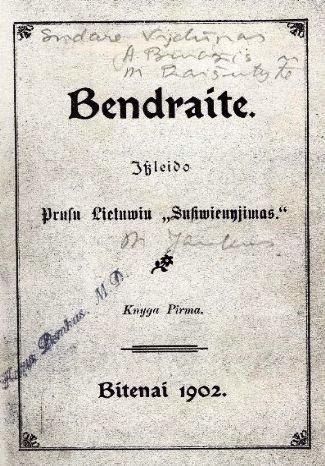 """Knygelė apie Lietuvą """"Bendraitė"""". Sudaryta iš Vydūno, Anso Bruožio ir Martos Raišukytės straipsnių."""
