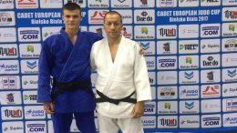 E.Sagalec ir jo treneris R.Lukošius.