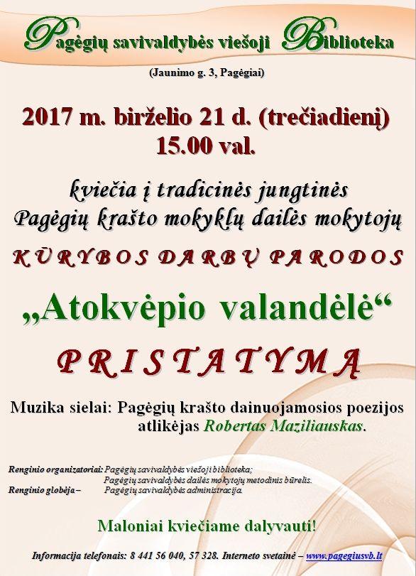 Skelbimas. Pagėgių krašto mokyklų dailės mokytojų parodos pristatymas