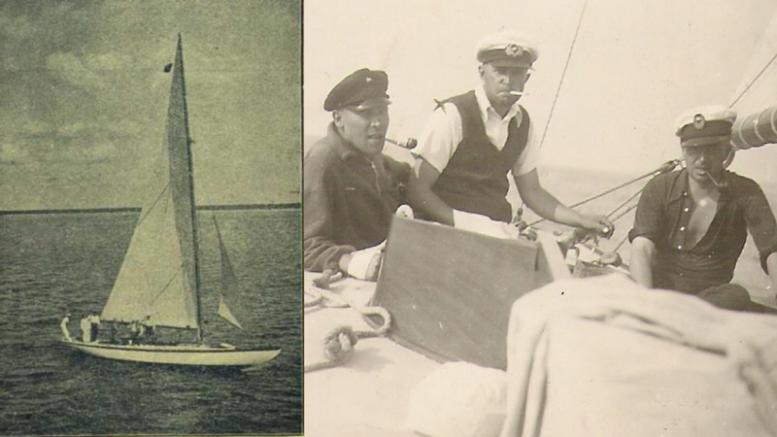 """""""Žalčių Karalienė"""". Pakeliui į 1937 m. Gotlando regatą K. Vasiliauskas, jachtos vadas P. Buntinas ir M. Empacheris."""