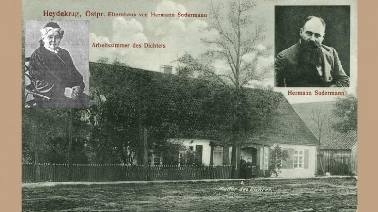 Buvęs Zudermanų namas Vytauto gatvėje Šilokarčemojs. Prieangyje stovi tėvai: Johanas Zudermanas ir Dorotėja Rabė.