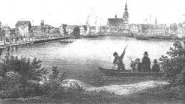 Tiltas prie Tilžės, pro kurį turėjo praplaukti ir keliautojai. Kitame krante matosi dvi vytinės su išpūstomis rėjinėmis burėmis. Iliustracija iš www.hostpreussen.net