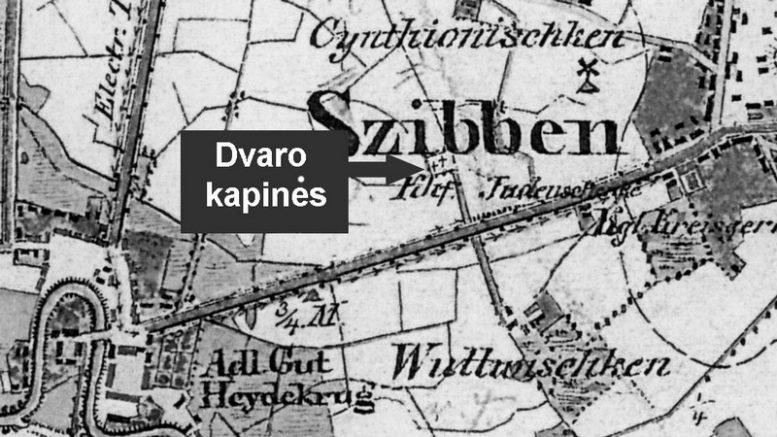 1860 metų Šilokarčemos žemėlapio fragmentas.