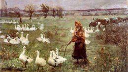 Žąsiaganė. Teodor Axentowicz, 1883 metų paveikslas.